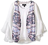 Amy Byer Big Girls' 2fer Bell Sleeve Blouse With Knit Vest, Pat G/Blue Multi, Medium
