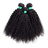 7A Unprocessed Virgin Hair, Mongolian Afro Kinky Curly Hair Weave 3 Bundles(100g/pcs), 100% Human Hair Extensions (16 18 20inch,Total 300g)