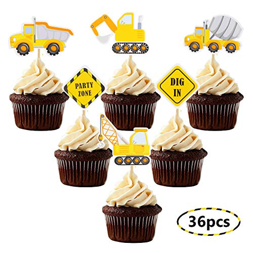 Construction Theme Cupcake Toppers Construction Signs Trucks Trators Excavators Cake Decorations Construction Zone Party Baby Shower Baby Sprinkle Kids Birthday Party Favors Pre-assembled (36 -