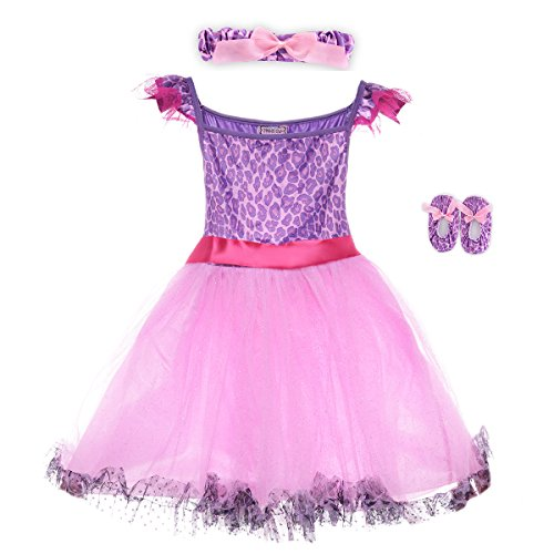 HBB Kids Little Girl's Dress Up Trendy Sassy Princess Dance Tutu Costume with Headband & Shoes, SZ 3-5, Purple