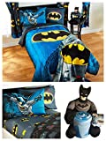 DC Comics Batman Kids Full Guardian Speed Bedding Set - Reversible Comforter, Sheet Set, Two Reversible Pillowcases, Batman Dark Knight Pillow and Throw Set