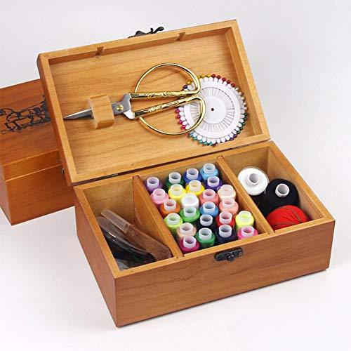 Foerteng Wooden Sewing Kit Set - Brown Wood Basket Storage Organizer Box with Professional Hand Sew Supplies
