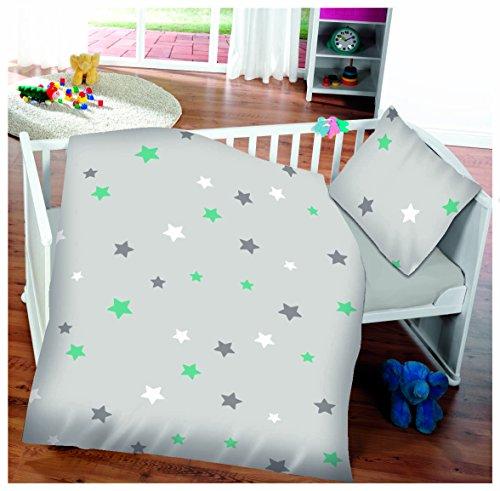 Aminata Kids moderne Jungen-Mädchen-Bettwäsche 100x135 cm 40x60 cm Sterne grau türkis Kinder-Bettwäsche hochwertige Baumwolle