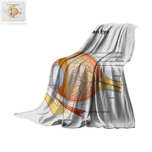 Educational Throw Blanket Human Eye Anatomy Cornea Iris Pupils Optic Nerves Graphic Print Warm Microfiber All Season Blanket for Bed or Couch 90