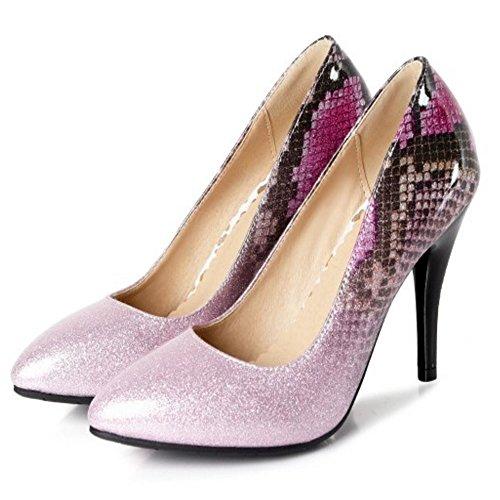 Taoffen Femmes Fermé Light Chaussures À Escarpins Purple Haut 2 Briller Bout Talon Enfiler rrqdwgxBa