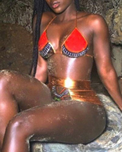 Atractiva Cintura Alta Push Up Bikini Traje De Baño para Mujer Rojo