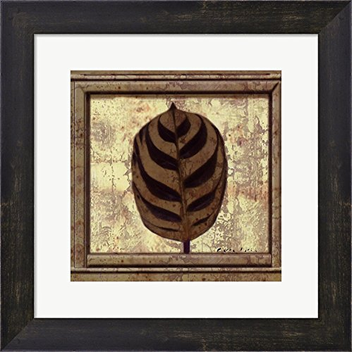(Classic Leaf Square I by Pierre Fortin Framed Art Print Wall Picture, Espresso Brown Frame, 13 x 13 inches)