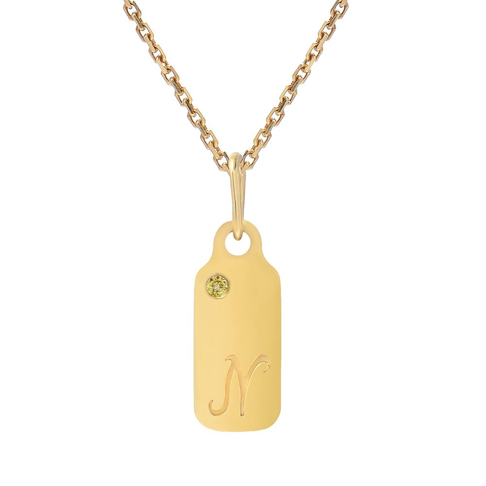 14k Gold Citrine November Birthstone Cursive Letter N Dog-tag Necklace