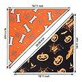 PUPTECK 2 Pack Dog Halloween Bandana - Pumpkin Black Scarf and Bone Orange Triangle Scarf, Cute Festival Dressup
