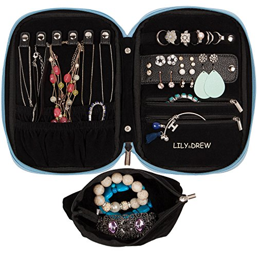 Lily & Drew Travel Jewelry Storage Carrying Case Jewelry Organizer with Removable Pouch (V1 Light Blue)