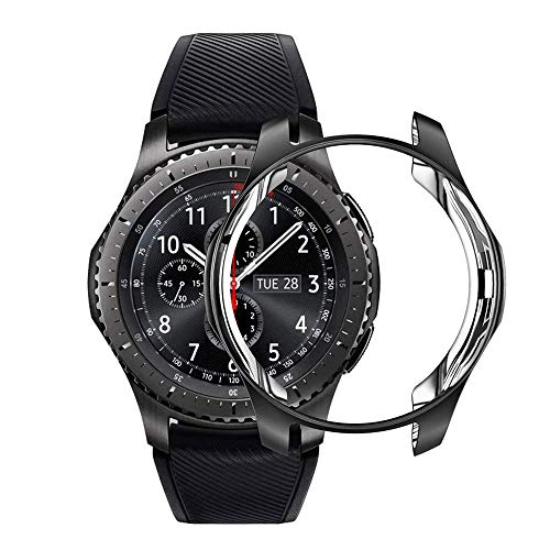 Case for Samsung Galaxy Watch 46mm Gear S3 Frontier,Soft TPU Shock-Proof Protective Bumper Sleeve Protector Cover for Galaxy Watch 46mm (Black) (Best Cover For Galaxy S3)