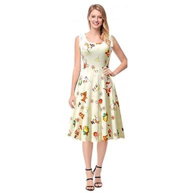 b01440bf0a38e Women's Tea Ball Gown Dress,Damask Floral Print 3/4 Sleeve Swing Tunic Shirt