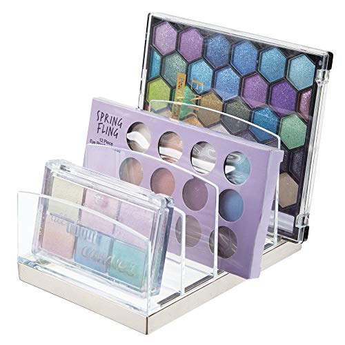 mDesign Plastic Makeup Organizer for Bathroom Countertops, Vanities, Cabinets: Cosmetics Storage Solution for - Eyeshadow Palettes, Contour Kits, Blush, Face Powder - 5 Sections - Clear/Brushed