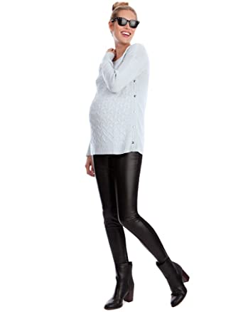 4543c0371541b Amazon.com: Seraphine Cici Underbelly Pleather Maternity Leggings: Baby