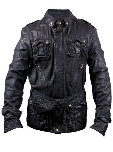 (FE Edr Military Style Leather Jacket Men Black Washed Vintage Genuine Lambskin)