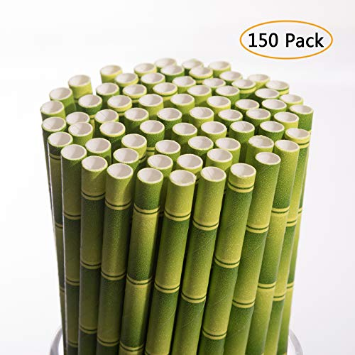 Biodegradable Paper Straws 150-Pack Bulk Paper Drinking Straws for Juices,Shakes,Smoothies,Cake Pops,Baby Showers,Parties Supplies Decorations