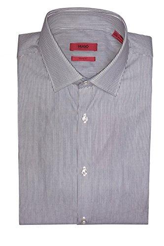 Hugo Boss C-madel Slim Fit Fine Stripe Long Sleeve Cotton Dress Shirt (Grey White, 14.5