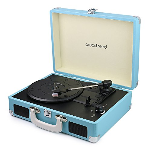 "(Vintage Portable Turntable - 3 Speed Record Player Suitcase - Built in Stereo Speaker and Battery - 1/8"" Stereo Headphone Jack, Aux Input, RCA Output – Blue VinylPal by ProduTrend)"