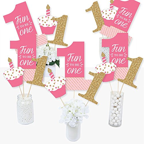 1st Birthday Girl - Fun to be One - First Birthday Party Centerpiece Sticks - Table Toppers - Set of -