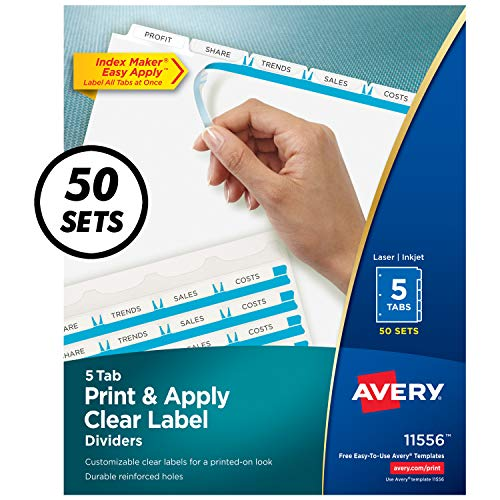 Avery 5-Tab Binder Dividers, Easy Print & Apply Clear Label Strip, Index Maker, White Tabs, 50 Sets (11556) ()