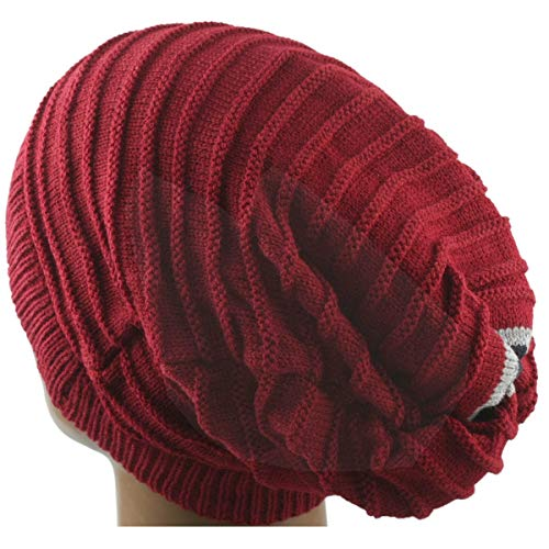 Samtree Unisex Slouchy Beanie Hat Stripe Knit Cap Loop Scarf Neckerchief Dreadlocks(Red)