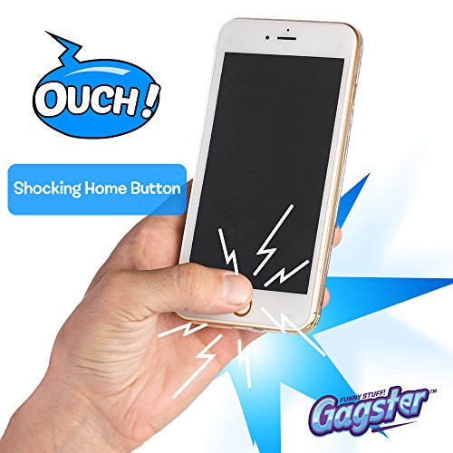 Shock Phone Funny Prank Gag – Fake Shocking Cell Phone – Make Friends Laugh with Practical Joke Dummy Shocker Like 6s Plus – Includes Real Flashlight & Trick Protection Case