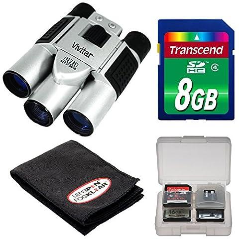 Vivitar 10x25 Binoculars with Built-in Digital Camera with 8GB Card + FogKlear Cleaning Cloth + Kit (Binocular Vivitar)