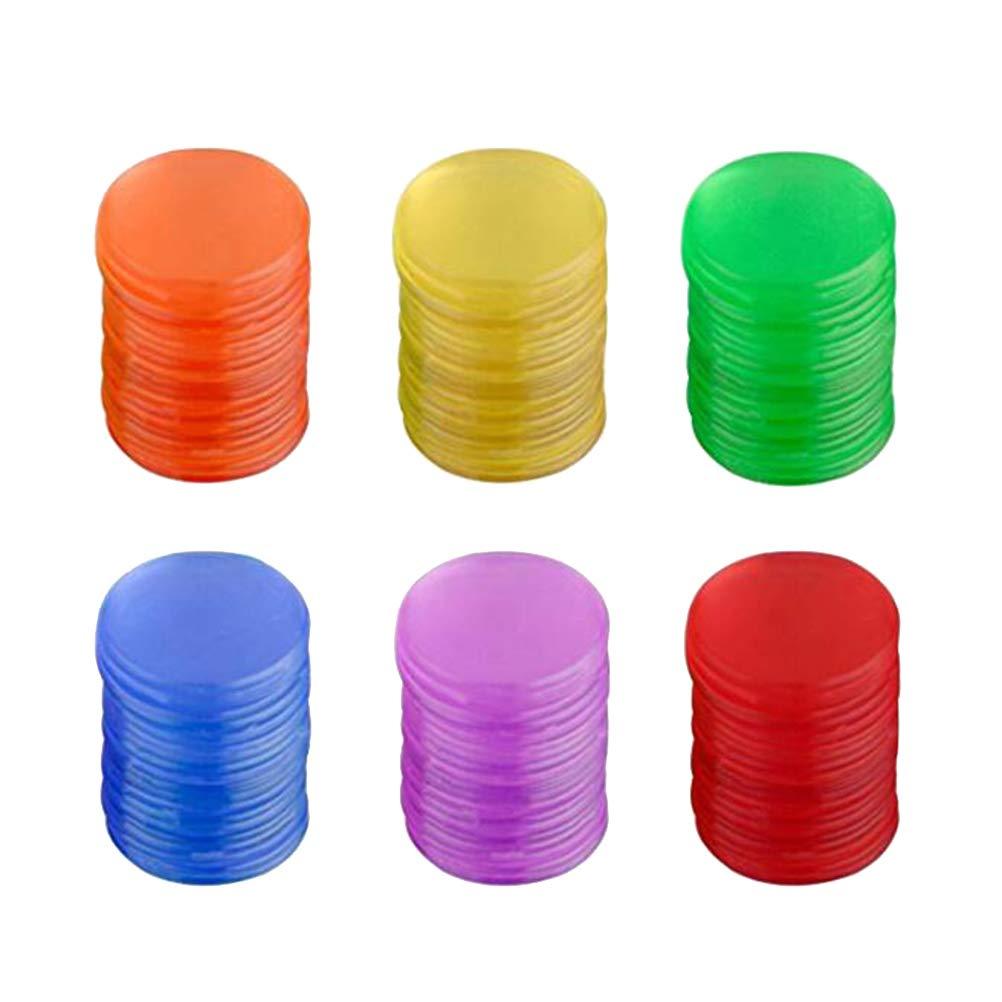 Toyvian 300 Colorido Marcador de Pl/ástico Chips Fichas de Bingo para Juego de Bingo Accesorios de Juego