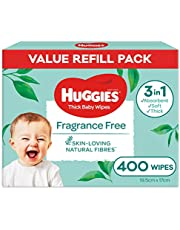 HUGGIES Baby Wipes Fragrance Free Baby Wipes, 400 Wipes Refill Pack