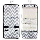 Zodaca Travel Hanging Cosmetic Toiletry Organizer Carry Bag, Gray/White Chevron