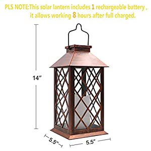 TAKEME Solar Lantern, Outdoor Garden Lights,Metal Waterproof LED Hanging Lights Decorative Lamp for Patio,Outside,Table … (Bronze)