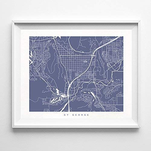 Amazon.com: St George Utah Street Road Map Home Decor Poster ... on i-70 road conditions mo, 70 east map, canyons located on a map, goblin valley atv trails map, 70 colorado map, i-40 arizona map, highway 70 map, kansas road map, interstate 70 map, slc terminal map,