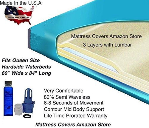 Semi Wave Waterbed Mattress - Queen 3000L 80% Semi Waveless Waterbed Mattress with Fill Kit and 4oz Conditioner
