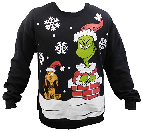 The Grinch Ugly Christmas Men's Pullover Sweatshirts (2XL, Black) (Grinch Sweaters)