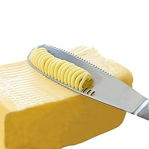 Stainless Steel Butter Spreader Knife - 3 in 1 Kitchen Gadgets, Curler, Slicer, Shave And Butter Grater! The Butter Knife Magic Slicer Is A Perfect Butter Slicer For Your Bread Slicer or Bagel Slicer