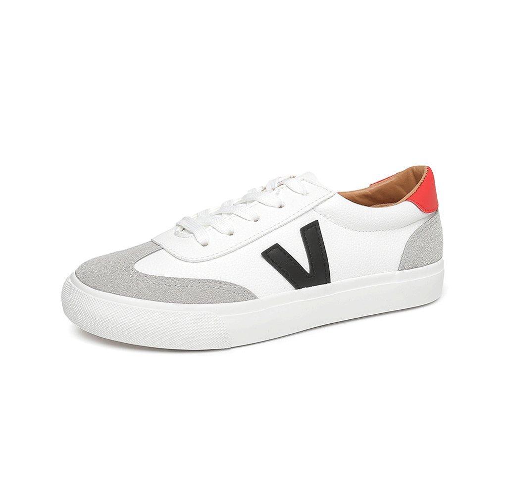 Chaussures plates décontractées et confortables Chaussures plates respirantes Chaussures faibles Chaussures de sport en dentelle simple Chaussures en cuir ( Couleur : Blanc , taille : 38 )