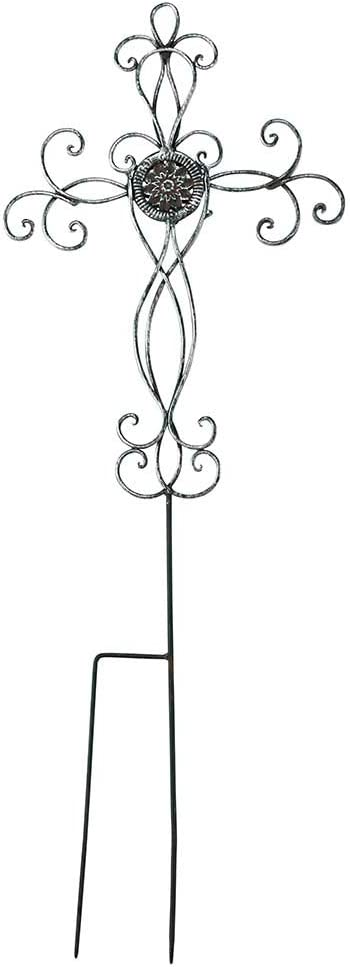 Dicksons Filigree Medallion Cross Metal 31.25 Inch Metal Outdoor Garden Stake