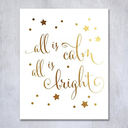 all-is-calm-all-is-bright-gold-foil-print-poster-christmas-art-silent-night-winter-holiday-metallic-