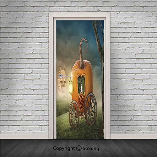 (Kids Decor Door Wall Mural Wallpaper Stickers,Abstract Fairytale Image with Orange Pumpkin Light Scenery Princess Ella Image,Vinyl Removable 3D Decals 30.4x78.7/2 Pieces set,for Home Decor)