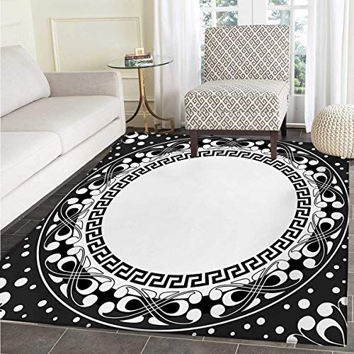- Greek Key Door Mat Rug Black White Pattern Spirals Swirls Chains Circle Little Dots Bath Mat 3D Digital Printing Mat 36