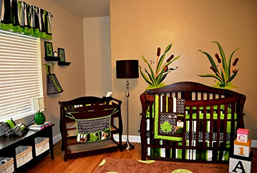 NVRENHUA 10 Piece Nursery Crib Bedding Set, Frog Crib Bedding Set, Green/Brown/Lime Green/White (Brown Green Frogs)