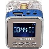 Andoer Mini Digital altoparlante portatile di musica MP3/4Player Micro SD/TF USB Disk FM Radio con Antenna Telescopica e uscita cuffie funzioni blu