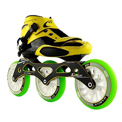 シティ効能意図LIUXUEPING ローラースケート、 スピードスケート靴、 大人の男性と女性のインラインレーシングシューズ、   初心者のスケート靴、 プロのプーリーシューズ (色 : Green, サイズ さいず : 33)