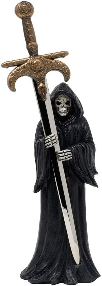 Evil Grim Reaper with Death Sword Letter Opener Statuette for Spooky Halloween Decorations and Horror Movie Gothic Décor Figurines or Decorative Office Gifts for Men