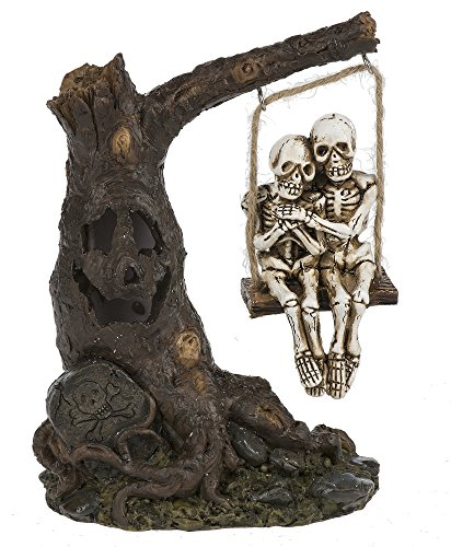 Halloween Decor- 5.5 Inch tall Light Up Skeleton Swinging on Tree (Ganz Halloween)