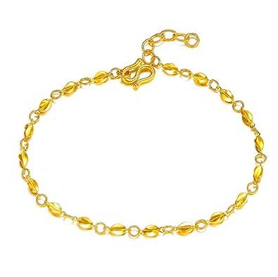 6c0597c7dc1 Amazon.com: GOWE Women 24k Gold Bracelet Genuine Pure 999 Gold ...