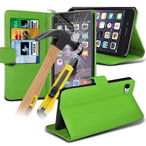 Spyrox ( Green ) Apple iPhone 6S Case Stylish Fitted Book PU-Leder-Mappen-Schlag mit Kredit- / Bankkarte Slot Hülle Tasche mit gehärtetem Glas Crystal Clear LCD Display-Schutzfolien, Reinigungstuch un