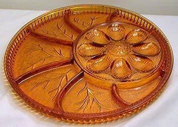 Vintage Indiana Glass Amber Deviled Egg Relish Serving Dish & Amazon.com | Vintage Indiana Glass Amber Deviled Egg Relish Serving ...