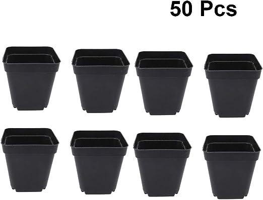 Produttori Vasi In Plastica.Yardwe 50 Pezzi Vaso Da Fiori In Plastica Quadrato Per Piante Vasi
