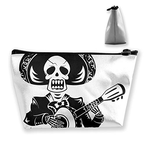RobotDayUpUP Skeleton Playing Guitar Tattoo Design Womens Travel Cosmetic Bag Portable Toiletry Brush Storage High Capacity Pen Pencil Bags Accessories Sewing Kit Pouch Makeup Carry Case